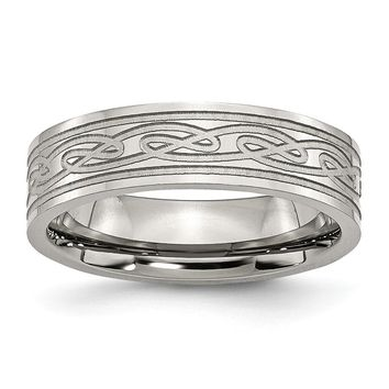 Stainless Steel Flat Laser Etched Celtic Knot 6mm Polished Band Ring 6 to 13 Size