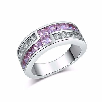 White Gold Plated Purple CZ Crystal Engagement Band Ring