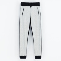 TWO-TONE VELOUR TROUSERS