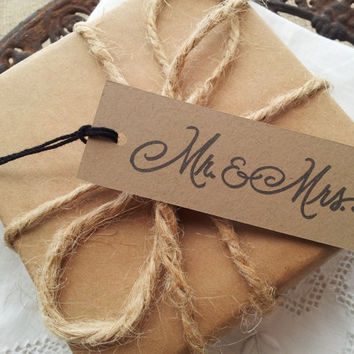 Mr and Mrs Wedding Kraft Tags Set of 25
