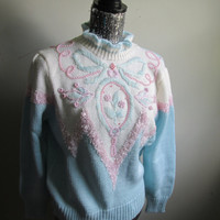 Vintage 90s Pastel Knit Pearl Embroidered Sweater