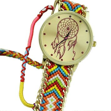 Multicolor 2 Dream Catcher Friendship Bracelet Watch