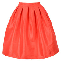 Orange High Waisted Skater Skirt