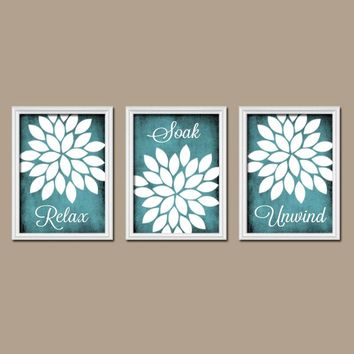 BATHROOM Wall Art Canvas or Prints Relax Soak Unwind Quote Wall Art Bathroom Decor  Flower Burst Bathroom Pictures, Art Set of 3 Home Decor