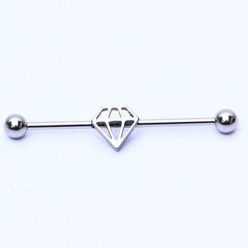 ac ICIKO2Q 1piece Black Silver Surgical Stainless Steel 1.6*38*5/5mm Long Industrial Barbells Heart Ear Body Piercing Jewelry