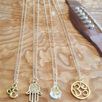Ohm Om Necklace Gold Tibetan Antique Gold Charm Minimalist Layering Meditation Zen Namaste Yoga