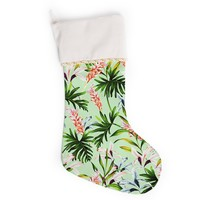 "Mmartabc ""Green Tropical Jungle"" Green Pink Illustration Christmas Stocking"