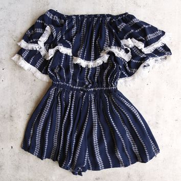 paper heart - playa del carmen off-the-shoulder romper - navy