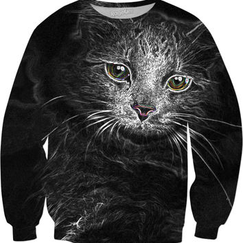 Lunar Essence of the Siberian Kitty Cat Sweatshirt - DistortionArt