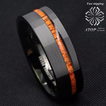 8mm Black Brushed Tungsten Carbide Ring Off Center Koa Wood Wedding Band Ring