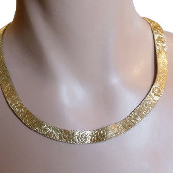 Monet gold choker, gold mesh choker necklace with rose pattern