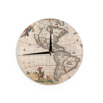 """Bruce Stanfield """"Vintage Map Of The America's """" Brown Green Wall Clock"""
