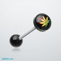 Rasta Pot Leaf Logo Acrylic Barbell Tongue Ring