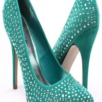 BLUE FAUX SUEDE STUDDED POINT TOE HEEL PUMPS