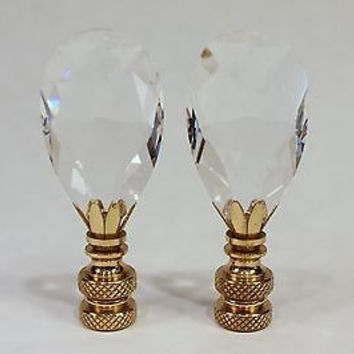 Pair of Unique Crystal Flat Diamond Shaped Lamp Finial
