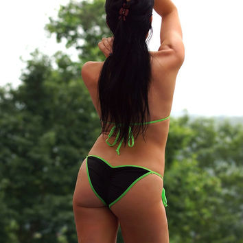 Solid Black w/ Neon Green Sexy Scrunch Butt Bikini 2 Piece Tie Side Brazilian Bottom Medium Triangle Top Swimwear Pucker Back Swimsuit