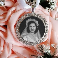 Wedding Bouquet Photo Charm Bridal Bouquet Memorial Photo, Wedding Accessories Rhinestone Bouquet Charm,Bridal Keepsake Engraved Photo Charm