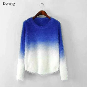 New Fashion 2016 Women Elegant Gradient Color Knitted Mohair Sweaters And Pullovers Ladies Warm Autumn Winter Knitwear SW10