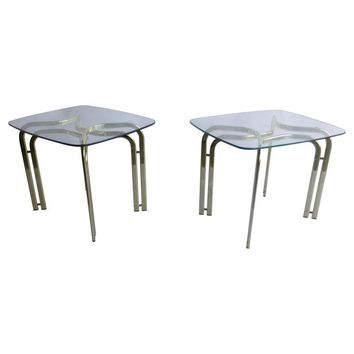 Pre-owned Milo Baughman Brass and Glass End Table - A Pair