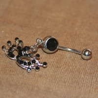 Masquerade Mask Belly Button Ring, Mardi Gras Mask Belly Button Ring, 14 Gauge Stainless Steel, Navel Jewelry Belly Ring