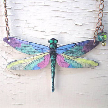 Pastel Dragonfly Necklace Insect Jewelry Spring by whatanovelidea