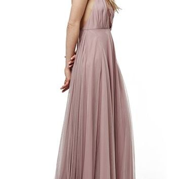 Topshop Lace-Up Tulle Maxi Dress | Nordstrom