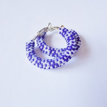 Blue and White Hoop Earrings, Bead Crochet Floral Pattern, Silver Plated.