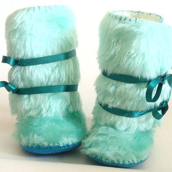 Mint Aqua Faux Fur Baby Boots Baby Mukluks Winter Baby Shoes Sheepskin Baby Booties