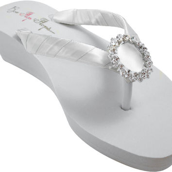 Wedge Flip Flops with Regal Circle Rhinestone Embellishment Satin