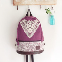 Fashion Purple Backpack with Crochet