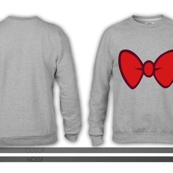 Mickey Mouse style cartoon bow tie for dressing up crewneck sweatshirt