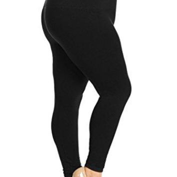 Yelete Legwear High Waist Compression Leggings With French Terry Lining Plus Size