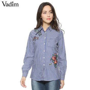 Women floral dragonfly embroidery full cotton striped blouse long sleeve long shirt