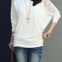western long sleeve white lace top | Elusive Cowgirl