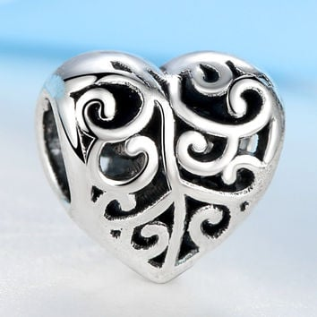 Free Shipping Double side Alloy Bead Charm Amazing Hollow Heart Beads Fit Women Pandora Bracelets DIY Necklace Jewelry YW15942