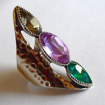 Rhinestone silver statement ring / emerald / smokey / amethyst / glass / boho / vintage / 80s / trio / gem / gift / hammered silver ring