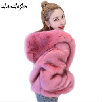 New Women Hooded Faux Fur Coat Fashion Warm Long-sleeved Loose Black Coat Flocking Cotton Jacket Coat 5 Colors High waist Bomber