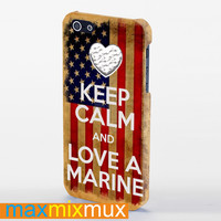 Keep Calm And Love Your Marine-American Flag iPhone 4/4S, 5/5S, 5C Series Full Wrap Case