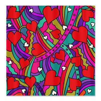 Heart and Rainbow Pattern Shower Curtain> Valentines Gifts> Hippy Gift Shop Funky Hippie Gifts