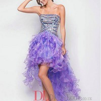 A-Line Strapless Organza Lilac Long Prom Dress/Evening Gowns With Rhinestone VTD259