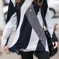 Blue Long Sleeve Striped T-Shirt