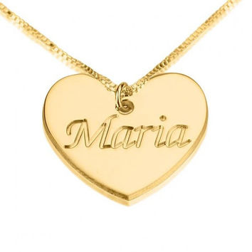 Engraved Heart Name Necklace - 24K Gold Plated