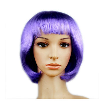 Women's Sexy Short Bob Cut Fancy Dress Wigs Play Costume Ladies Full Wig Party  lilac