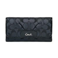 Authentic Coach Ashley Signature Sateen Checkbook Large Wallet F46198 Black