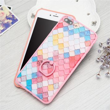 Pink Cute 3D DIY Colorful Fish Scales Phone Cases For iPhone 7 6 6S Plus Case Fashion Grid Hard PC Cover With Stand Holder Shell