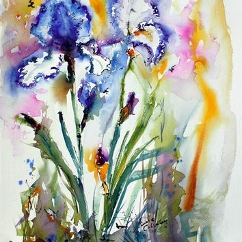 Blue and White Bearded Iris Flowers - Original Watercolor and Ink by Ginette Callaway