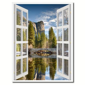 Bridal Veil Falls Yosemite National Park California Picture French Window Canvas Print with Frame Gifts Home Decor Wall Art Collection