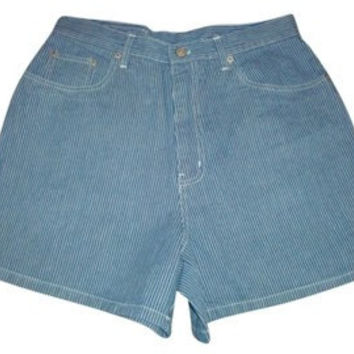 BILL BLASS VINTAGE Railroad Stripe high waisted denim shorts jeans size 9 10