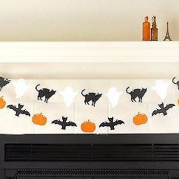 Halloween Banner Garland Black Cat Ghost Bat Pumpkin, Halloween Party Decor Prop