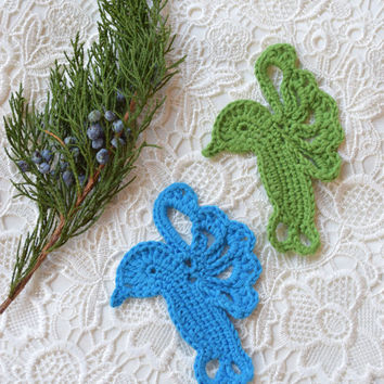 Crochet Appliques Hummingbirds Sewing craft Bird decoration Crochet flying bird embellishment supplies crocheted sewing accessories Set of 2